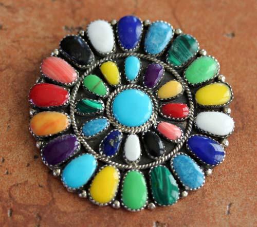 Navajo Multi_Stone Cluster Pin/Pendant
