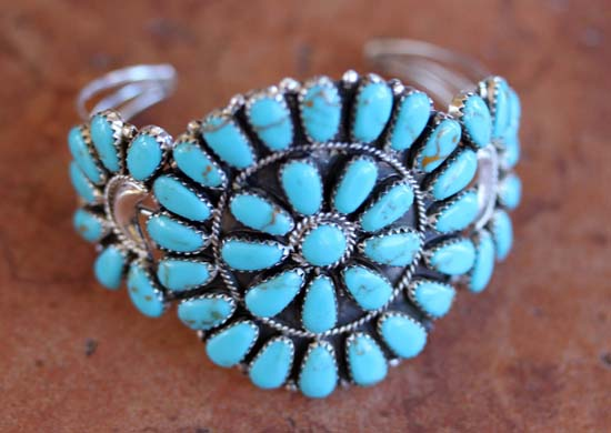 Navajo Silver Turquoise Cluster Bracelet