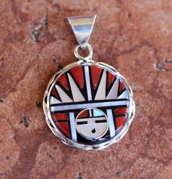 Zuni Silver Sunface Pendant