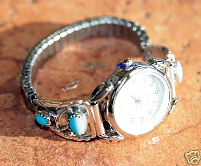 Navajo Turquoise Ladies Watch by Robert Brown