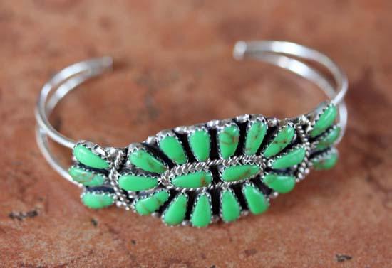 Navajo Silver Gaspeite Cluster Bracelet