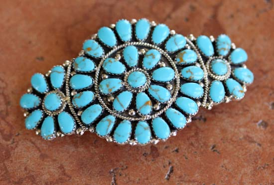 Navajo Turquoise Cluster Barrette by J Williams