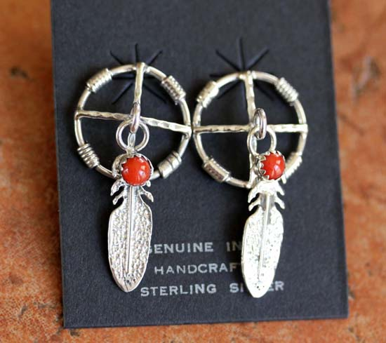Navajo Sterling Silver Coral Medicine Wheel Earrings