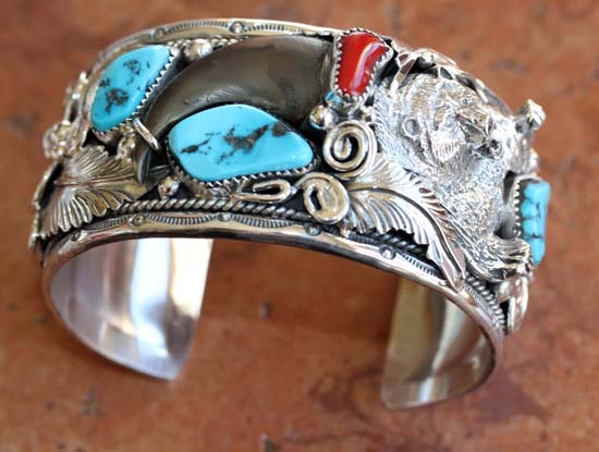 Navajo Silver Turquoise Coral Bear Claw Bracelet