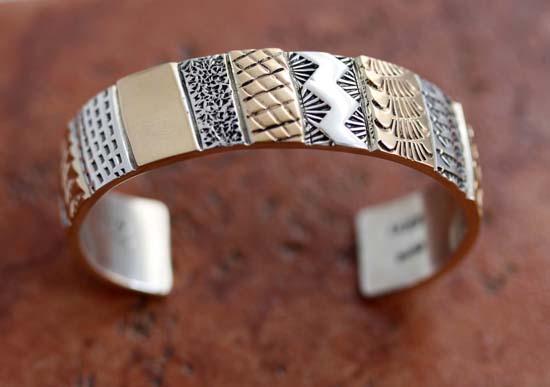 Navajo Heavy Sterling Silver 14K Gold Overlay Bracelet