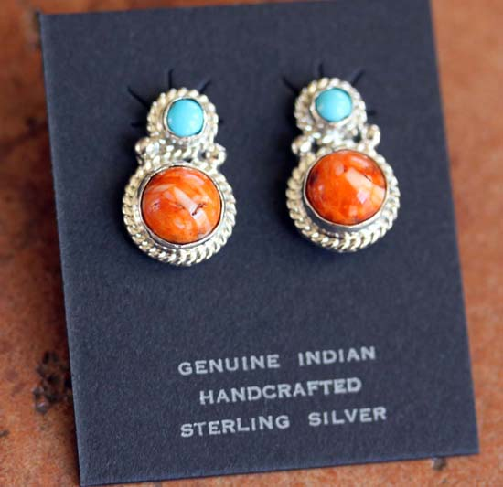Navajo Turquoise Spiny Oyster Earrings