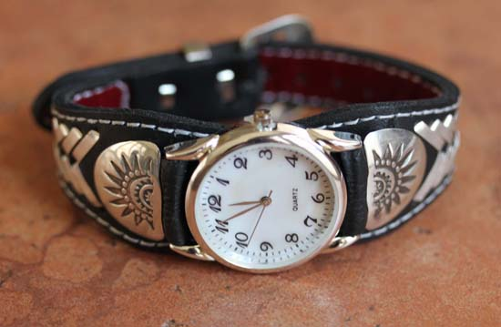 Navajo Native American Leather Men's Watch