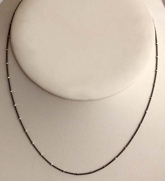 925 18 Inch Long Black and White Sterling Silver Chain