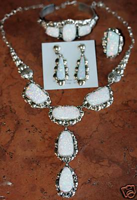 Navajo Silver Created Opal Necklace Set by Clem Nalwood