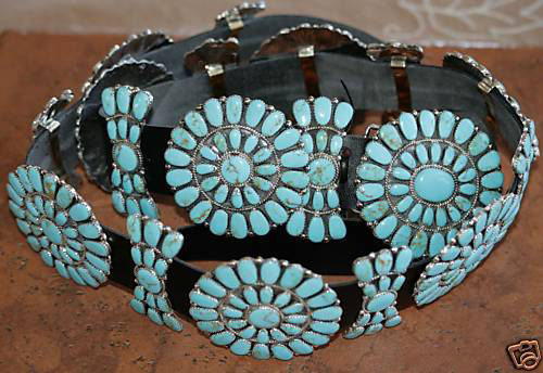 Navajo Leather Turquoise Concho Belt by J. Williams