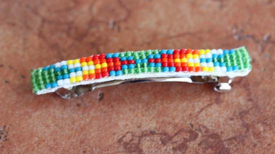Navajo Sterling Silver Beaded Hair Barrette