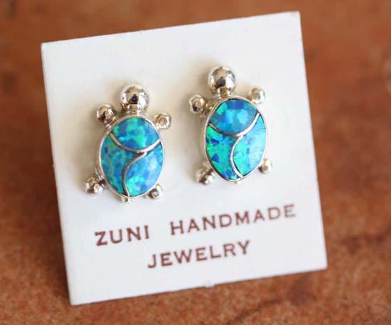 Zuni Silver Created Opal Turtle Earrings