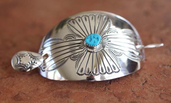 Navajo Silver Turquoise Barrette