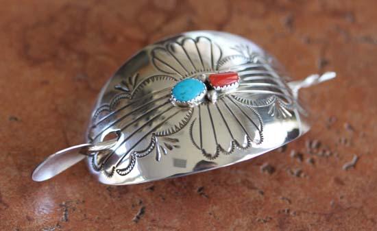 Navajo Silver Turquoise Coral Barrette