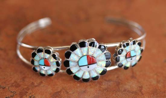 Zuni Silver Multi_Stone Sunface Bracelet