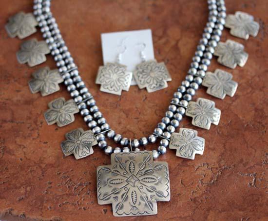 Navajo Silver Cross Necklace Set