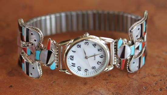 Zuni Multi_Stone Thunderbird Men's Watch