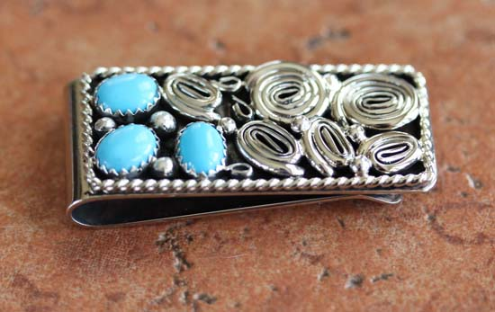Navajo Native American Turquoise Money Clip