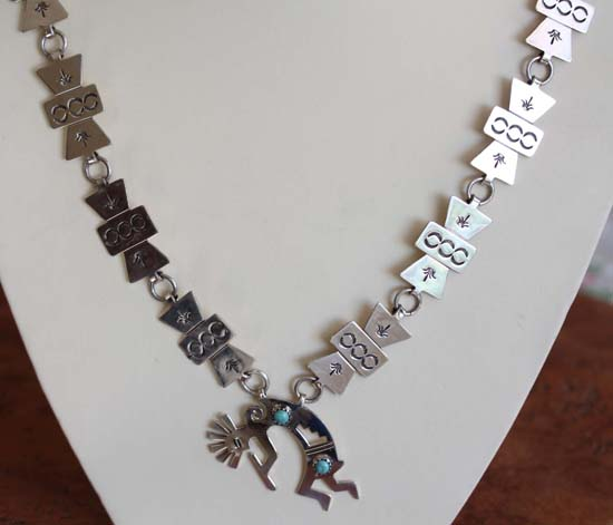 Navajo Sterling Silver Turquoise Kokopelli Necklace