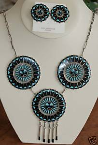 Zuni Indian Multi_Stone Necklace and Earrings