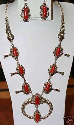 Navajo Silver Coral Necklace w/ Earrings_ Clem Nalwood