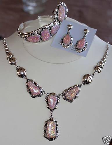 Navajo Sterling Created Opal Necklace Set _Clem Nalwood