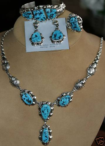 Navajo Sterling Turquoise Necklace Set by Clem Nalwood