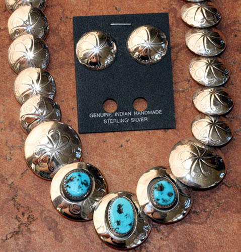 Navajo Silver Turquoise Necklace/Earrings Set