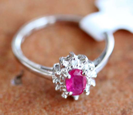 10K White Gold Diamond Accent Ruby Ring Size 6