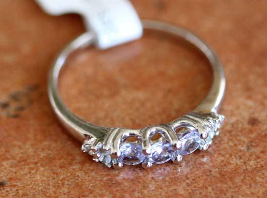 10K White Gold White Sapphire Tanzanite Ring Size 6