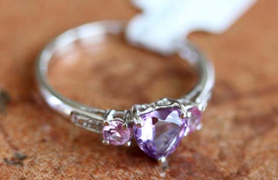 10K White Gold Amethyst Pink Topaz Diamond Heart Ring Size 7