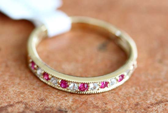 10K Yellow Gold White Sapphire Ruby Ring Size 7