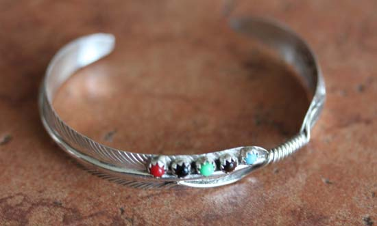 Navajo Sterling Silver Multi_Stone Feather Bracelet