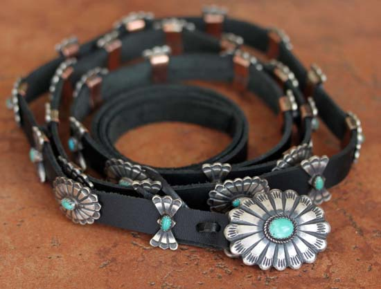 Navajo Leather Turquoise 62 inch Concho Belt