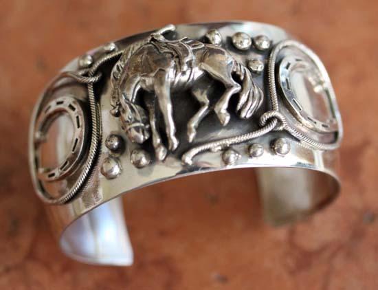Navajo Sterling Silver Horse Bracelet