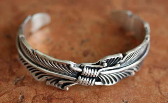 Heavy Navajo Sterling Silver Feather Bracelet
