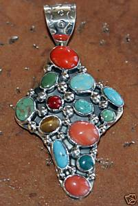 Nakai Navajo Silver Multi_Stone Cross Pendant