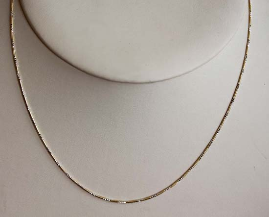 Gold Overlay Silver 18 Inch Long Chain