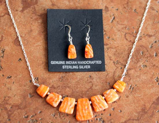 Navajo Spiny Oyster Necklace Earrings Set