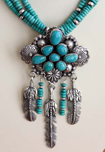 Navajo Multi_Strand Turquoise Necklace by Patrick Yazzie