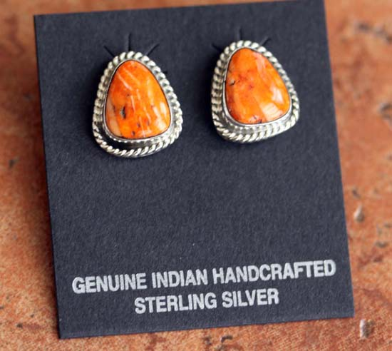 Navajo Silver Spiny Oyster Earrings