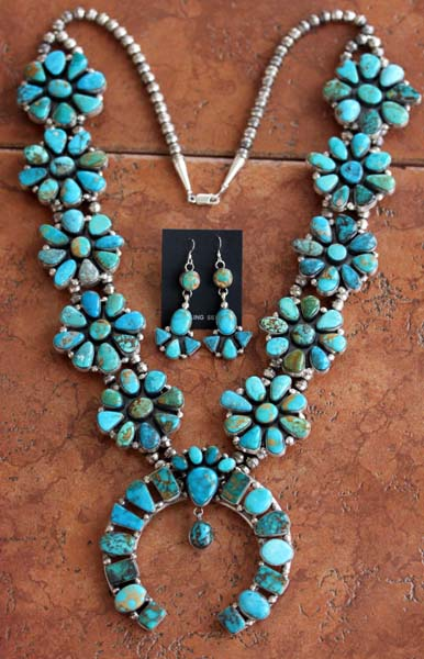 Navajo Silver Turquoise Necklace Set by Eloise Kee