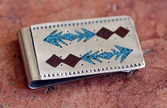 Navajo Turquoise Coral Money Clip