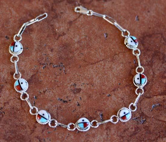 Zuni Multi_Stone Sunface Link Bracelet
