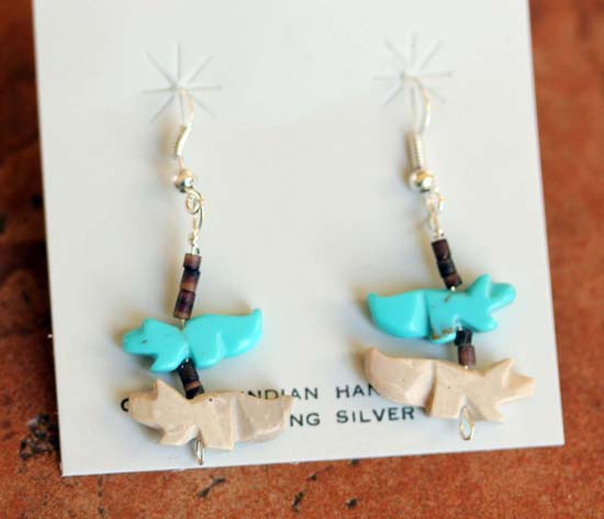 Zuni Native American Fetish Earrings by Corey Ramirez