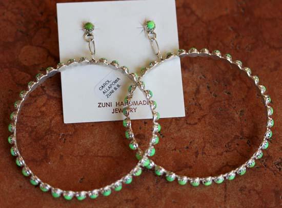 Zuni Silver Gaspeite Earrings