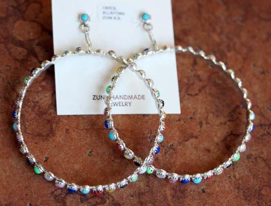 Zuni Silver Multi_Stone Earrings