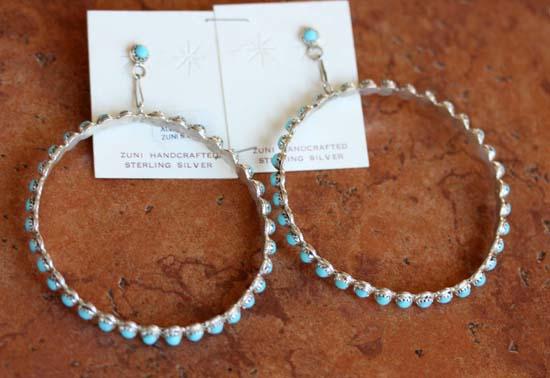 Zuni Silver Turquoise Earrings