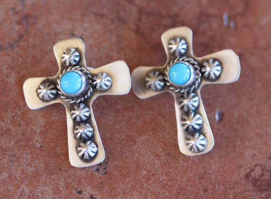 Navajo Sterling Silver Turquoise Cross Earrings