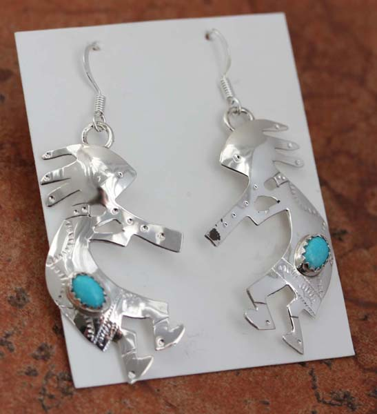 Navajo Silver Turquoise Kokopelli Earrings